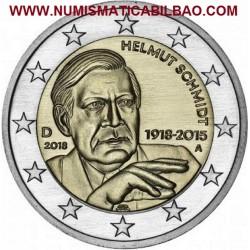 ALEMANIA 2 EUROS 2018 HELMUT SCHMIDT CENTENARIO DE SU NACIMIENTO SC MONEDA CONMEMORATIVA Germany Euro coin