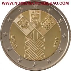 ESTONIA 2 EUROS 2018 CENTENARIO DE LA FUNDACION DE LOS ESTADOS BALTICOS SC MONEDA CONMEMORATIVA Eesti Estland Euro coin
