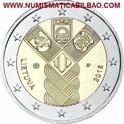 LITUANIA 2 EUROS 2018 CENTENARIO DE LA FUNDACION DE LOS ESTADOS BALTICOS SC MONEDA CONMEMORATIVA Lietuva Lithuania Euro coin