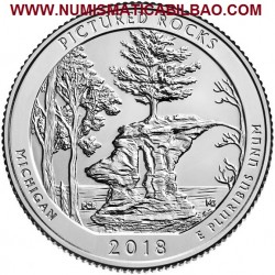 @1ª MONEDA@ ESTADOS UNIDOS 25 CENTAVOS 2018 P Parque Nacional PICTURED ROCKS en MICHIGAN NICKEL SC USA Quarter