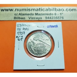 @OFERTA@ ESPAÑA 25 PESETAS 1957 * 67 FRANCO ESTADO ESPAÑOL KM.788 MONEDA DE NICKEL SC @IMPERFECCIONES@ SI PLUS-ULTRA