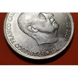 @ERROR POR ESTRELLA SIN ACUÑAR@ ESPAÑA 100 PESETAS 1966 * 19 ?? FRANCO MONEDA DE PLATA SC ESTADO ESPAÑOL