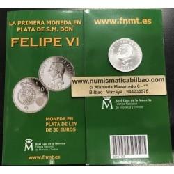 ESPAÑA CARTERA FNMT 30 EUROS 2014 PRIMERA MONEDA DEL REY FELIPE VI PLATA @LUJO@ TIRADA LIMITADA