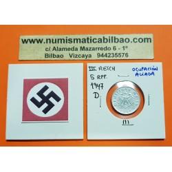 ALEMANIA Ocupación Aliada 5 REICHSPFENNIG 1947 D AGUILA SIN ESVASTICA NAZI KM.A105 MONEDA DE ZINC 1 Germany III REICH