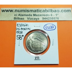 @MUY RARA@ ESPAÑA 25 PESETAS 1957 * 58 FRANCISCO FRANCO ESTADO ESPAÑOL KM.787 MONEDA DE NICKEL SIN CIRCULAR PLUS ULTRA VISIBLE