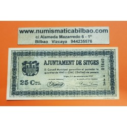 BILLETE LOCAL 25 CENTIMOS 1937 AYUNTAMIENTO AJUNTAMENT DE SITGES Serie A 01840 SC @IMPERFECCIONES@ GUERRA CIVIL EN ESPAÑA