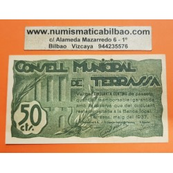 BILLETE LOCAL 50 CENTIMOS 1937 CONSELL MUNICIPAL DE TERRASSA Sin Serie 075592 SC @IMPERFECCIONES@ GUERRA CIVIL EN ESPAÑA