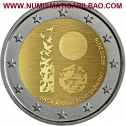 ESTONIA 2 EUROS 2018 REPUBLICA 100 ANIVERSARIO SC MONEDA CONMEMORATIVA Eesti Estland 2 Euro coin