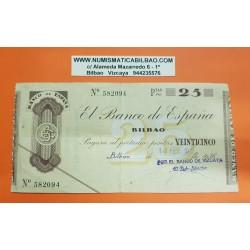 BILBAO EUSKADI 25 PESETAS 1936 BANCO DE VIZCAYA 582904 Pick 552G @RARO@ BILLETE/TALON GUERRA CIVIL EN EUZKADI