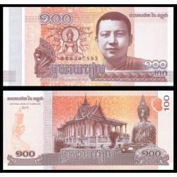 @OFERTA@ CAMBOYA 100 RIELS 2014 TEMPLO y ESTATUA DE BUDA Pick 65 BILLETE SC Cambodia UNC BANKNOTE