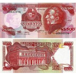 URUGUAY 500 PESOS 1991 ARTIGAS y PALACIO Color ROJO Pick 63A BILLETE SC UNC BANKNOTE