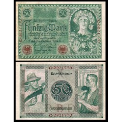ALEMANIA 50 MARCOS 1920 MUJER CON FRUTAS y TRABAJADORES Serie C Pick 68 BILLETE SC Germany 20 Reichsmark UNC BANKNOTE