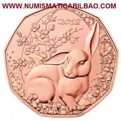 AUSTRIA 5 EUROS 2018 CONEJO DE PASCUA MONEDA DE COBRE SC Osterreich 5 Euro Coin
