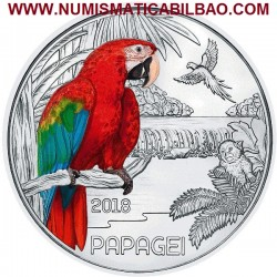 @RARA@ AUSTRIA 3 EUROS 2018 PAPAGAYO MONEDA DE NICKEL A COLORES SC @SE ILUMINA EN LA NOCHE@ Österreich PAPAGEI Euro Coin
