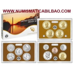 2015 UNITED STATES MINT PROOF SET @NICKEL@ 14 COINS ESTADOS UNIDOS 1+5+10+10+25 CENTAVOS + 1/2 DOLAR KENNEDY + 1 DOLAR 2015