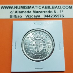 MACAO 5 PATACAS 1952 ESCUDO KM.5 MONEDA DE PLATA @LUJO@ República Portuguesa Macau silver coin