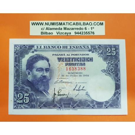 @OFERTA@ ESPAÑA 25 PESETAS 1954 ISAAC ALBENIZ Sin Serie 1638388 Pick 147  BILLETE EBC @MARCADA DOBLEZ@ Spain banknote