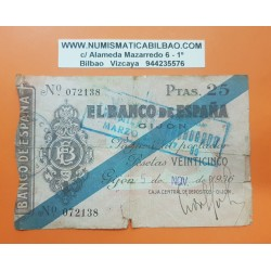 ESPAÑA 25 PESETAS 1936 BANCO DE ESPAÑA GIJON ASTURIAS Sin Serie 072138 BILLETE TIPO TALON @RARO - CORTE@ GUERRA CIVIL