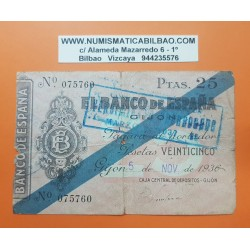 ESPAÑA 25 PESETAS 1936 BANCO DE ESPAÑA GIJON ASTURIAS Sin Serie 075760 BILLETE TIPO TALON @RARO@ GUERRA CIVIL