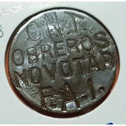 @RESELLO OBREROS NO VOTAR CNT FAI@ ESPAÑA 10 CENTIMOS 1878 MONEDA DE PROTESTA POLITICA EN LA GUERRA CIVIL ESPAÑOLA