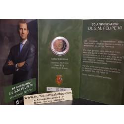 """@PROOF 7.500 monedas@ ESPAÑA 2 EUROS 2018 50 ANIVERSARIO DE S.M. FELIPE VI"""" CARTERA FNMT EURO 2018 @RARA@"""