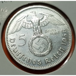 ALEMANIA 5 MARCOS 1938 A AGUILA y ESVASTICA NAZI III REICH KM.94 MONEDA DE PLATA @LUJO@ Germany 5 Reichsmark