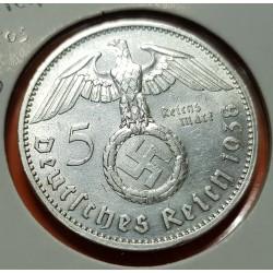 ALEMANIA 5 MARCOS ESVASTICA NAZI 1938 A PLATA III REICH NAZI 1