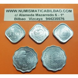 INDIA @TIRA DE 5 MONEDAS@ 5 PAISE 1976+1977+1978 y 10 PAISE 1975+1978 FAO & DEVELOPMENT KM.19+20+21+29+32 ALUMINIO SC-