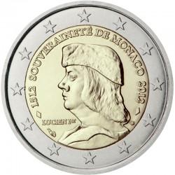 MONACO 2 EUROS 2012 LUCIEN I VERY RARE UNC BIMETALLIC