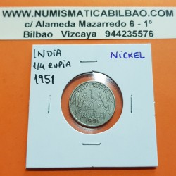 INDIA 1/4 RUPIA 1951 ESPIGAS DE CEREAL Government Of India KM.5.1 MONEDA DE NICKEL MBC 1/4 Rupee