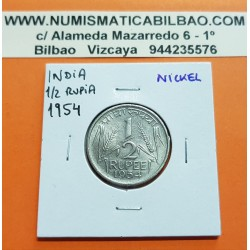 INDIA 1/2 RUPIA 1954 ESPIGAS DE CEREAL Government Of India KM.6.2 MONEDA DE NICKEL MBC++ 1/2 Rupee