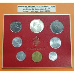 VATICANO CARTERA OFICIAL 1967 PAULUS VI SC 1+2+5+10+20+50+100 LIRAS + 500 LIRAS 1967 PLATA PAPA PABLO VI