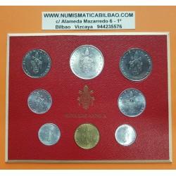 VATICANO CARTERA OFICIAL 1972 PAULUS VI SC 1+2+5+10+20+50+100 LIRAS + 500 LIRAS 1972 PLATA PAPA PABLO VI