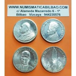 @4 MEDALLAS@ VATICANO 1985 BUSTOS DE 4 PAPAS : JUAN XXIII + PABLO VI + JUAN PABLO I + JUAN PABLO II NICKEL CON BAÑO DE PLATA