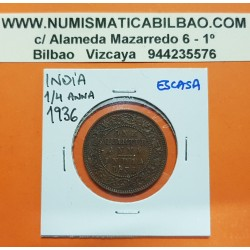 INDIA 1/4 ANNA 1936 Ceca de BOMBAY REY JORGE V KM.512 MONEDA DE BRONCE MBC+ One Quarter BRITISH INDIA