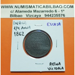 INDIA 1/4 ANNA 1862 REINA VICTORIA KM.467 MONEDA DE BRONCE MBC One Quarter BRITISH INDIA