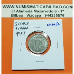SERBIA 10 PARA 1917 VALOR y AGUILA DEL REY MILAN I KM.10 MONEDA DE NICKEL EBC- Ex-Yugoslavia