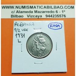 ALBANIA 1/2 LEK 1931 L (Viena) HERCULES LUCHANDO CON LEON REY ZOG I KM.13 MONEDA DE NICKEL MBC++ @ESCASA@ 1/2 LEKE