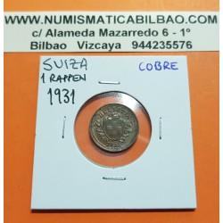 SUIZA 1 RAPPEN 1931 B ESCUDO y VALOR KM.3.2 MONEDA DE COBRE EBC Switzerland