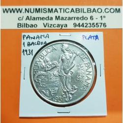 PANAMA 1 BALBOA 1931 VASCO NUÑEZ DE BALBOA KM.13 MONEDA DE PLATA MBC+ @RARA@ silver coin DISEÑO TIPO 1