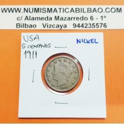 ESTADOS UNIDOS 5 CENTAVOS 1911 LIBERTY PHILADELPHIA MINT KM.112 MONEDA DE NICKEL MBC+ USA 5 CENT COIN