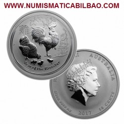 AUSTRALIA 1/2 DOLAR 2017 AÑO DEL GALLO 50 CENTAVOS Serie Lunar MONEDA DE PLATA SC 50 Cents ONZA HALF OZ YEAR OF THE ROOSTER
