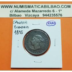 CANADA 1 CENTAVO 1895 REINA VICTORIA KM.7 MONEDA DE COBRE @RAYITAS@ 1 Cent copper coin