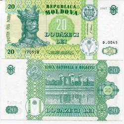 MOLDAVIA 20 LEI 1997 REY ESTEBAN y CASTILLO Color Verde Pick 13 BILLETE SC Moldova UNC BANKNOTE