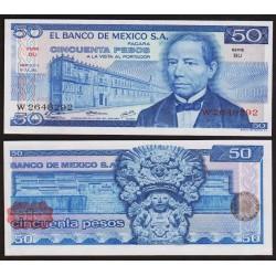 MEXICO 50 PESOS 1973 BENITO JUAREZ y BANCO DE MEXICO Pick 65 BILLETE SC Mejico UNC BANKNOTE