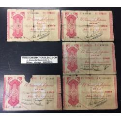 1936 EUSKADI (LOTE 5 BILLETES) 5 PESETAS CAJA AHORROS VIZCAINA - MUNICIPAL GOBIERNO DE EUZKADI GUERRA CIVIL