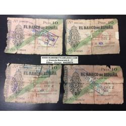 4 billetes x GIJON 10 PESETAS 1936 BANCO DE ESPAÑA en ASTURIAS Sin Serie BILLETE TIPO TALON GUERRA CIVIL