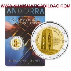 ANDORRA 2 EUROS 2018 ANIVERSARIO DE LA CONSTITUCION SC @RARA@ MONEDA BIMETALICA y CONMEMORATIVA