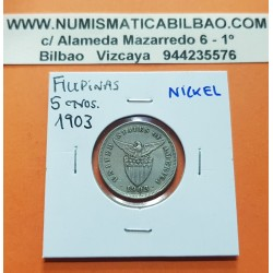 FILIPINAS 5 CENTAVOS 1903 ESCUDO KM.164 MONEDA DE NICKEL MBC Ocupacion de Estados Unidos UNITED STATES OF AMERICA PHILIPPINES