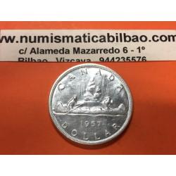 CANADA 1 DOLAR 1957 CANOA INDIOS PLATA SILVER KM*54 RAYITAS DOLLAR